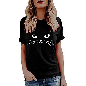 economico Maglie donna-Per donna maglietta Gatto Pop art Farfalla Con stampe Rotonda Top 100% cotone Essenziale Top basic Bianco Nero Blu