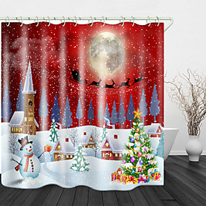 cheap Shower Curtains-Christmas Snow White Town Christmas Tree Digital Printing Shower Curtain Shower Curtains & Hooks Modern Polyester New Design