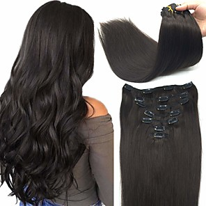 cheap 3 Bundles with Closure-Clip In Hair Extensions Remy Human Hair Clip On Hair Extensions 7pcs 100 g Pack Straight Blonde 14-24 inch Hair Extensions