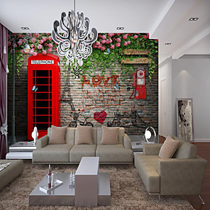 cheap Wall Murals-Wall Cloth Room Wallcovering Custom Self Adhesive Mural Wallpaper Red Mailbox Suitable For Bedroom Living Room Cafe Restaurant Hotel Wall Decoration Art