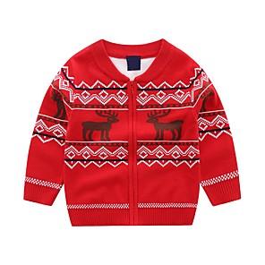 cheap Women's Sandals-Kids Boys' Basic Blue Red Animal Print Long Sleeve Sweater & Cardigan Red