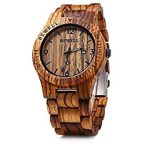 cheap Hair Jewelry-bewell mens wooden watch analog quartz movement date display lightweight wood wrist watch litbwat