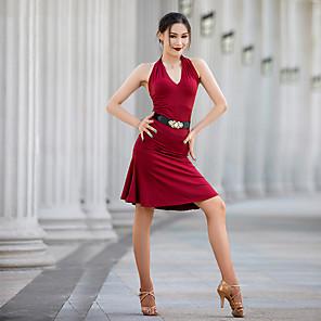 cheap Latin Dancewear-Latin Dance Dress Ruching Women's Performance Sleeveless Milk Fiber
