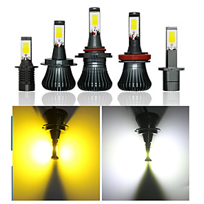 cheap Car Headlights-2pcs Double Color Change COB Car Fog Light Bulb Styling Source 25W IP67 H1 H3 H7 H8 H11 9005 9006 880 Front Fog Lamps 12V