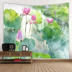 cheap Wallpaper-Beautiful Lotus in the Mist Digital Printed Tapestry Decor Wall Art Tablecloths Bedspread Picnic Blanket Beach Throw Tapestries Colorful Bedroom Hall Dorm Living Room Hanging
