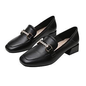 hesapli Kadın Düz Ayakkabıları ve Makosenleri-Kadın's Mokasen & Bağcıksız Ayakkabılar Küba Topuk Dörtgen Uçlu Günlük Günlük Solid PU Yürüyüş Badem / Siyah