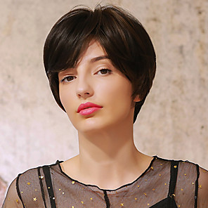 cheap Human Hair Capless Wigs-Synthetic Wig Ombre Straight Natural Straight Pixie Cut Short Bob Side Part Wig Short Dark Brown Brown Blonde Black / Blonde Black / Brown Synthetic Hair 10 inch Women's Cosplay Ombre Hair African