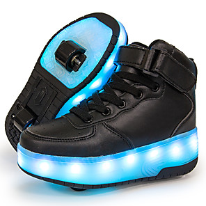 cheap Kids' LED Shoes-Boys' / Girls' Sneakers LED Shoes / USB Charging / Luminous Fiber Optic Shoes Leather / Synthetics Sequins Big Kids(7years +) Walking Shoes Sequin / LED / Luminous White / Black / Red Fall / Winter