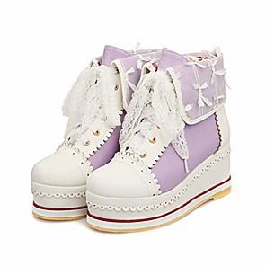 cheap Women's Boots-women& #39;s cute lolita boots cosplay brogue wedge boots purple