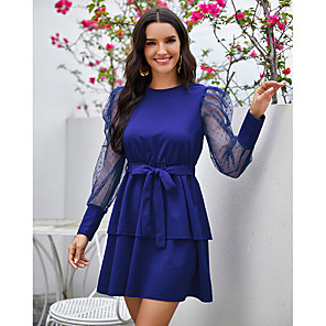 cheap Movie & TV Theme Costumes-A-Line Vintage Sexy Homecoming Cocktail Party Dress Jewel Neck Long Sleeve Short / Mini Spandex with Bow(s) 2020