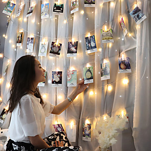 cheap LED String Lights-2pcs 3m 20led Photo Hanging Clips String Light Photo Collage Display Led Twinkle Light with Clip Home Bedroom Wall Decoration for Picture Card