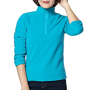 cheap Softshell, Fleece & Hiking Jackets-Women's Hiking Fleece Jacket Winter Outdoor Solid Color Thermal Warm Windproof Fleece Lining Breathable Winter Fleece Jacket Top Fleece Full Length Visible Zipper Camping / Hiking Fishing Climbing