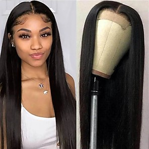 cheap Human Hair Wigs-Remy Human Hair Lace Front Wig Free Part style Brazilian Hair Straight Natural Wig 150% Density Women Best Quality Hot Sale For Black Women Women's Medium Length Human Hair Lace Wig