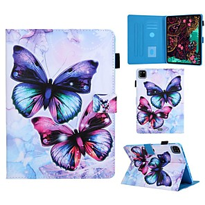 cheap iPad case-Case For Apple iPad 10.2 Air 10.5 2019 iPad Pro 11 2020 Mini 12345 2017 2018 9.7 Card Holder with Stand Pattern Full Body Cases Butterfly PU Leather