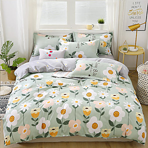 cheap Throw Pillow Covers-Duvet Cover Sets Cartoon pattern Printed 4 Piece Bedding Set With Pillowcase Bed Linen Sheet Single Double Queen King Size Quilt Covers Bedclothes For Kids Room