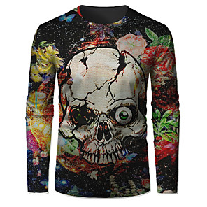 cheap LED String Lights-Men's T-shirt Graphic Skull Long Sleeve Tops Basic Round Neck Black