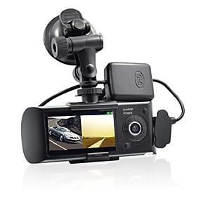 billige Bil-DVR-dobbeltkamera bil dvr r300 med gps og 3d g-sensor 2,7 tft lcd x3000 cam videokamera videospill syklusopptak digital zoom