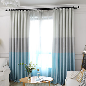 cheap Curtains Drapes-Two Panel Simple Three-Color Stitching Style Curtains For Living Room Bedroom Dining Children's Room Curtains