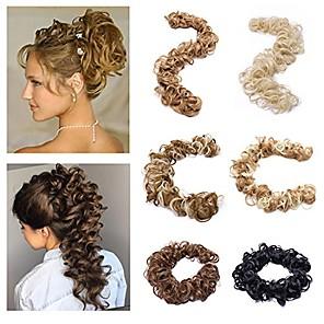 cheap Hair Pieces-twirl hair band updo hairpiece extension wrap around scrunchy messy curly hair bun extension light brown & bleach blonde