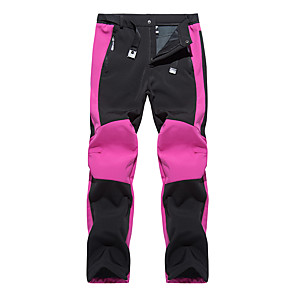 cheap Hiking Trousers & Shorts-Women's Hiking Pants Winter Outdoor Thermal Warm Waterproof Portable Windproof Spandex Pants / Trousers Bottoms Purple Fuchsia Camping / Hiking Hunting Climbing S M L XL XXL / Breathable / Breathable