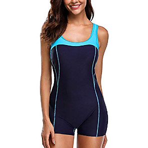 cheap Wetsuits, Diving Suits & Rash Guard Shirts-Women's One Piece Swimsuit Polyester Swimwear Beach Wear Bodysuit Swimming Water Sports / Blue