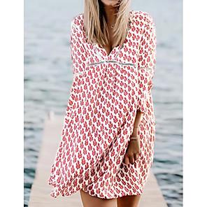cheap Women's Sandals-Women's A-Line Dress Knee Length Dress - 3/4 Length Sleeve Floral Summer V Neck Boho 2020 Red S M L XL XXL XXXL