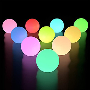cheap LED String Lights-10pcs 6pcs 2pcs 1pc RGB Outdoor Garden Glowing Ball Lights 3inch 7.8cm Patio Landscape Pathway LED Illuminated Ball Table Lawn Lamps