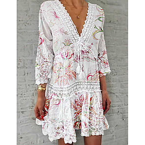 cheap Women's Sandals-Women's Shirt Dress Short Mini Dress - 3/4 Length Sleeve Floral Lace Print Summer V Neck Casual 2020 White S M L XL XXL XXXL XXXXL