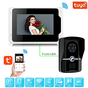 cheap Video Door Phone Systems-Wired Video Intercom System With Tuya 7 Inch Video Doorbell Door Phone System Wired Video Door Phone HD 1080P Camera Kits Support Unlock Monitoring Dual-way Intercom for Villa Home Office Apartment