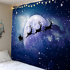 cheap Animal Paintings-Christmas Weihnachten Santa Claus Wall Tapestry Art Decor Blanket Curtain Picnic Tablecloth Hanging Home Bedroom Living Room Dorm Decoration Snow Elk Moon Night Sky Polyester