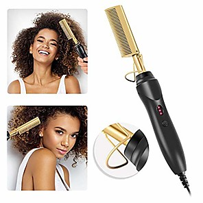 cheap Hair Dryers-electric hot comb r wand hair curling irons straightening comb hot electric titanium alloy hair comb, hair straightener brush straightening comb for afro hair electric straightening comb