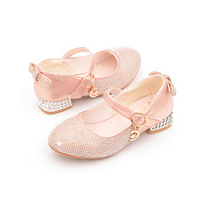 cheap Kids' Tiny Heels-Girls' Heels Flower Girl Shoes Microfiber Little Kids(4-7ys) Sparkling Glitter Pink / Silver Fall