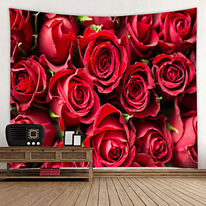 cheap Wallpaper-Romantic Red Rose Digital Printed Tapestry Decor Wall Art Tablecloths Bedspread Picnic Blanket Beach Throw Tapestries Colorful Bedroom Hall Dorm Living Room Hanging