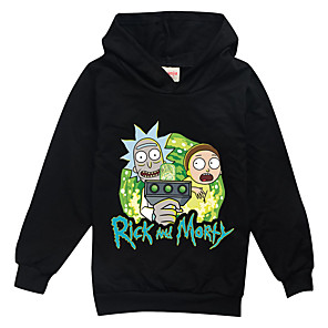 cheap Everyday Cosplay Anime Hoodies & T-Shirts-Inspired by Cosplay Rick and Morty Cosplay Costume Hoodie Pure Cotton Print Printing Fancy Hoodie For Boys'