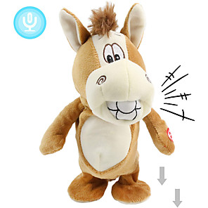 cheap Stuffed Animals-Electric Toys Stuffed Animal Plush Toy Donkey Gift Singing Dancing Repeats What You Say Interactive PP Plush Imaginative Play, Stocking, Great Birthday Gifts Party Favor Supplies Boys and Girls Kid's