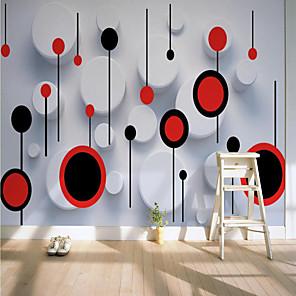 baratos Papel de Parede-autocolante personalizado mural papel de parede círculo vermelho e branco adequado para quarto sala de estar café restaurante hotel decoração de parede arte pano de parede quarto revestimento de