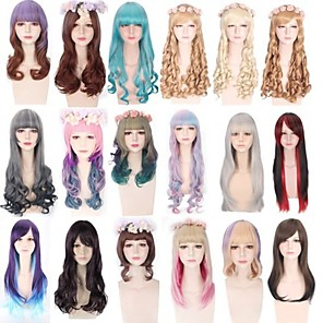 cheap Synthetic Trendy Wigs-Cosplay Wig Lolita Curly Wavy Bob With 2 Ponytails Neat Bang Wig Long Medium Length A15 A16 A17 A18 A19 Synthetic Hair 10-30 inch Women's Anime Cosplay Creative Pink Brown