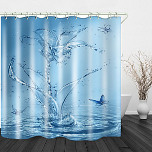 cheap Shower Curtains-Splash Butterfly Shower Curtains & Hooks Modern Polyester New Design