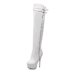 cheap Women's Boots-Women's Boots Stiletto Heel Round Toe Casual Daily Party & Evening Buckle Solid Colored Suede Over The Knee Boots Walking Shoes White / Black / Beige