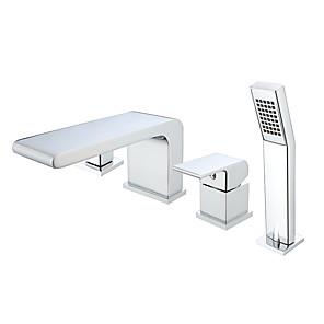 cheap Bathtub Faucets-Bathtub Faucet - Contemporary Painted Finishes Roman Tub Ceramic Valve Bath Shower Mixer Taps