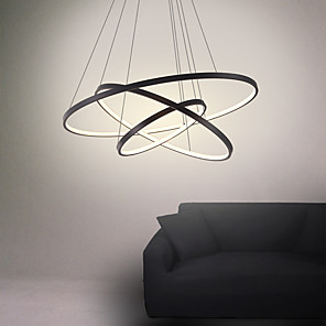 cheap Flush Mounts & Semi Flush Mounts-3-Light 80/60/40/20 cm LED Pendant Light Metal Acrylic Ring Circle Design Painted Finishes 90W/113W 3-Rings 4-Rings Dimmable with Remote Control