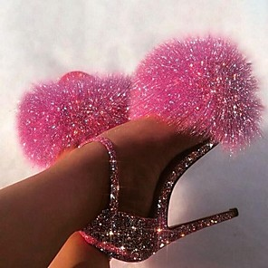 cheap Women's Boots-Women's Sandals Stiletto Heel Peep Toe Sexy Daily Sequin Solid Colored PU Pink