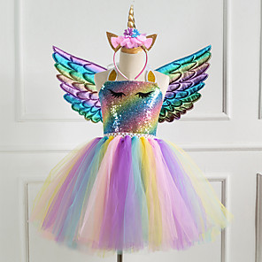 cheap Movie & TV Theme Costumes-Unicorn Dress Girls' Movie Cosplay New Year's Golden / Silver / Dark Blue Dress Wings Headwear Christmas Halloween Carnival Polyester / Cotton Polyester