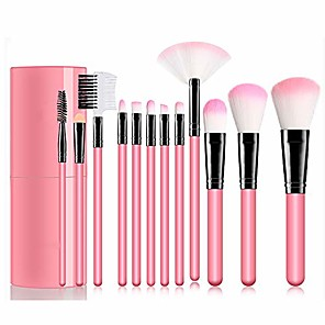 cheap Makeup Brush Sets-makeup brush set 12 piece set bucket pink synthetic makeup brush pink handle eyeshadow eyeliner blush brushes concealer mix brush makeup tools