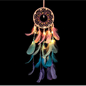 cheap LED String Lights-Dream Catcher LED Color Feather Night Light Handmade Dream Catcher Ornaments Home Room Ornaments Party Valentine's Day Decoration