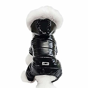 cheap Dog Clothes-waterproof pet clothes for dog winter warm dog jacket coat dog hooded jumpsuit snowsuit (s, black)