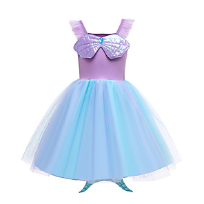 cheap Movie & TV Theme Costumes-The Little Mermaid Dress Girls' Movie Cosplay Purple Dress Halloween Carnival Masquerade Polyester / Cotton