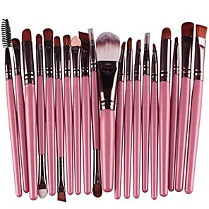 cheap Makeup Brush Sets-20 pcs makeup brush set tools make-up wool kit 1pc powder puff & #40;2018 green& #41;