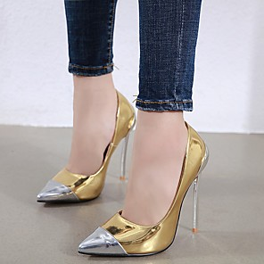 cheap Women's Heels-Women's Heels Stiletto Heel Pointed Toe Casual Basic Daily Color Block Solid Colored PU Walking Shoes Gold