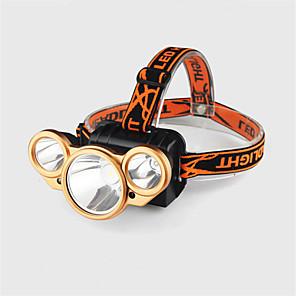 povoljno Baterijske svjetiljke-Svjetiljke za glavu Svjetlo za bicikle Vodootporno LED 3 emiteri 4.0 rasvjeta mode s baterijom i USB kabelom Vodootporno Prilagodljiv LED Kampiranje / planinarenje / Speleologija Uporaba Biciklizam